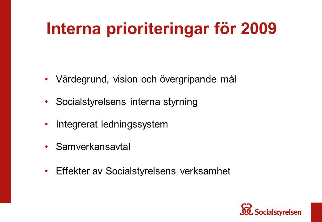 Interna prioriteringar för 2009 Värdegrund, vision och övergripande mål Socialstyrelsens interna styrning Integrerat ledningssystem Samverkansavtal Ef