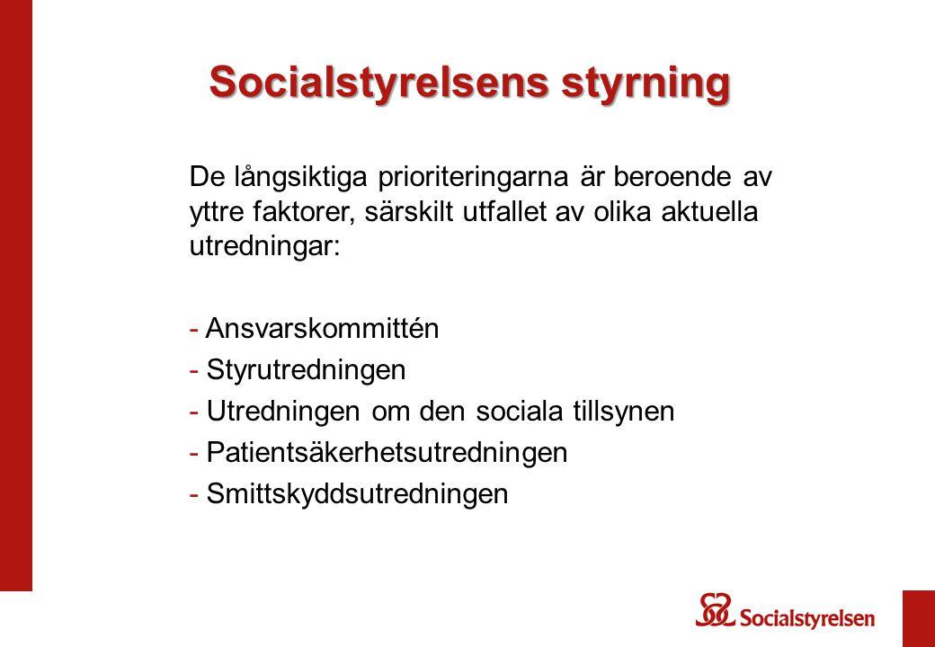 Socialstyrelsens styrning De långsiktiga prioriteringarna är beroende av yttre faktorer, särskilt utfallet av olika aktuella utredningar: - Ansvarskom