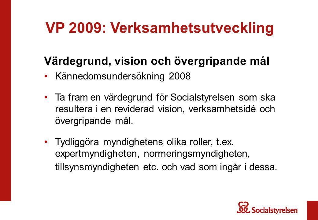 VP 2009: Verksamhetsutveckling Värdegrund, vision och övergripande mål Kännedomsundersökning 2008 Ta fram en värdegrund för Socialstyrelsen som ska re