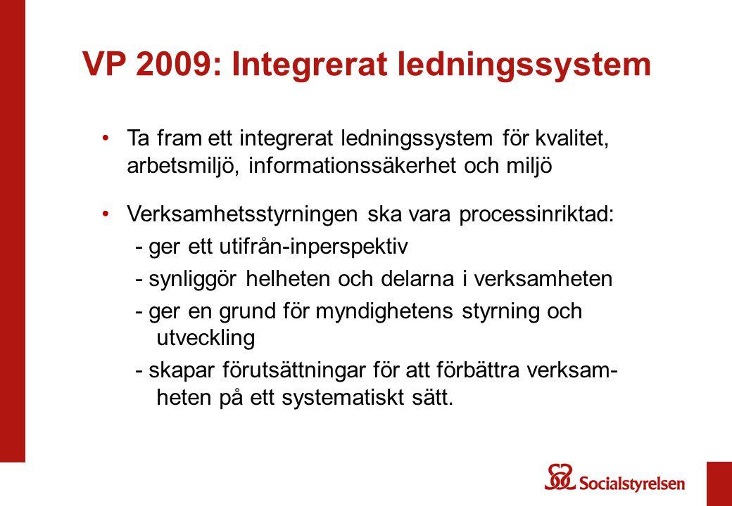 VP 2009: Integrerat ledningssystem Ta fram ett integrerat ledningssystem för kvalitet, arbetsmiljö, informationssäkerhet och miljö Verksamhetsstyrning