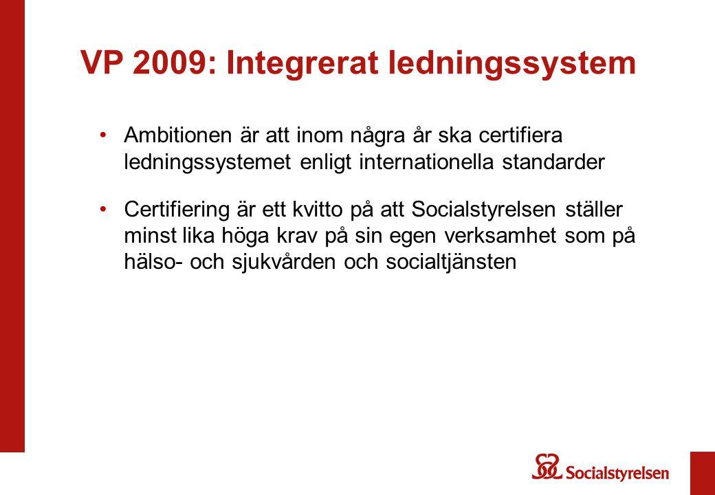VP 2009: Integrerat ledningssystem Ambitionen är att inom några år ska certifiera ledningssystemet enligt internationella standarder Certifiering är e