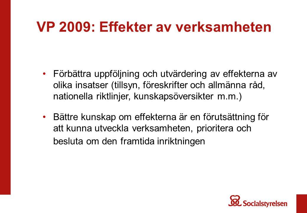 VP 2009: Effekter av verksamheten Förbättra uppföljning och utvärdering av effekterna av olika insatser (tillsyn, föreskrifter och allmänna råd, natio