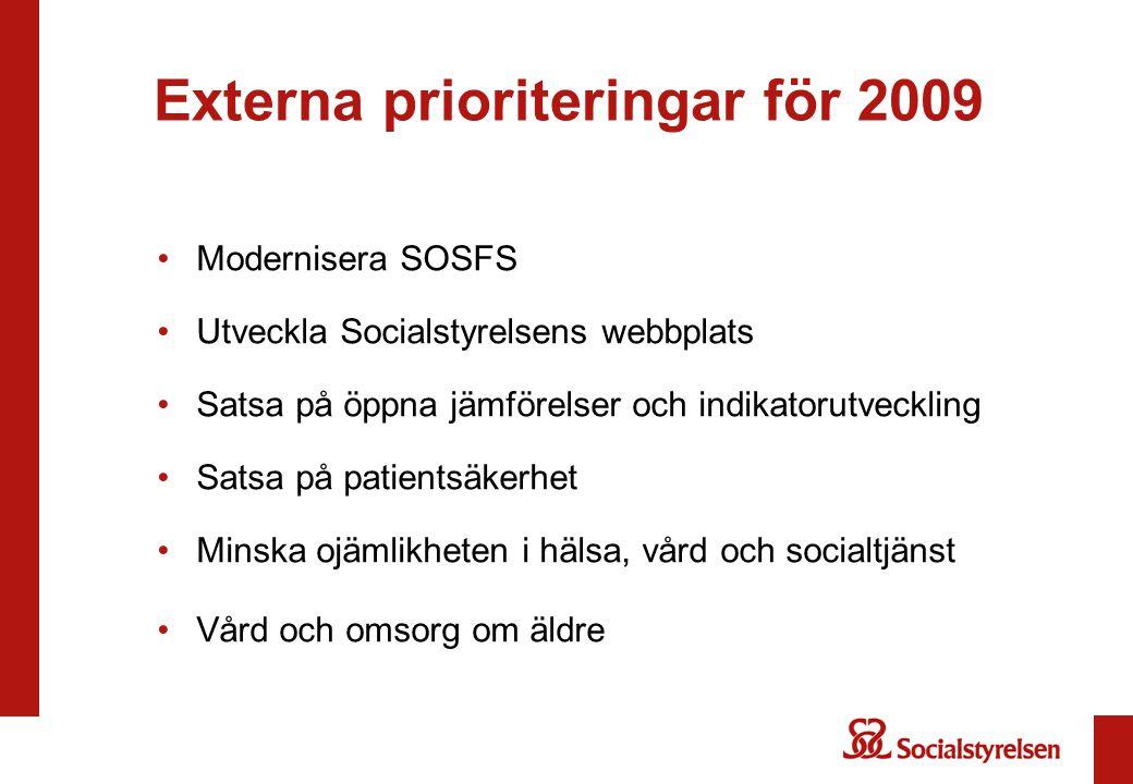 Externa prioriteringar för 2009 Modernisera SOSFS Utveckla Socialstyrelsens webbplats Satsa på öppna jämförelser och indikatorutveckling Satsa på pati