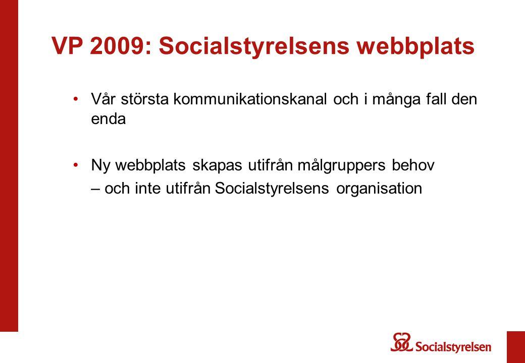 VP 2009: Socialstyrelsens webbplats Vår största kommunikationskanal och i många fall den enda Ny webbplats skapas utifrån målgruppers behov – och inte