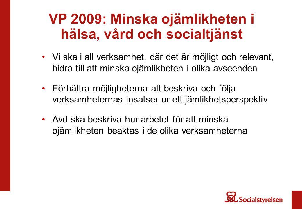 VP 2009: Minska ojämlikheten i hälsa, vård och socialtjänst Vi ska i all verksamhet, där det är möjligt och relevant, bidra till att minska ojämlikhet