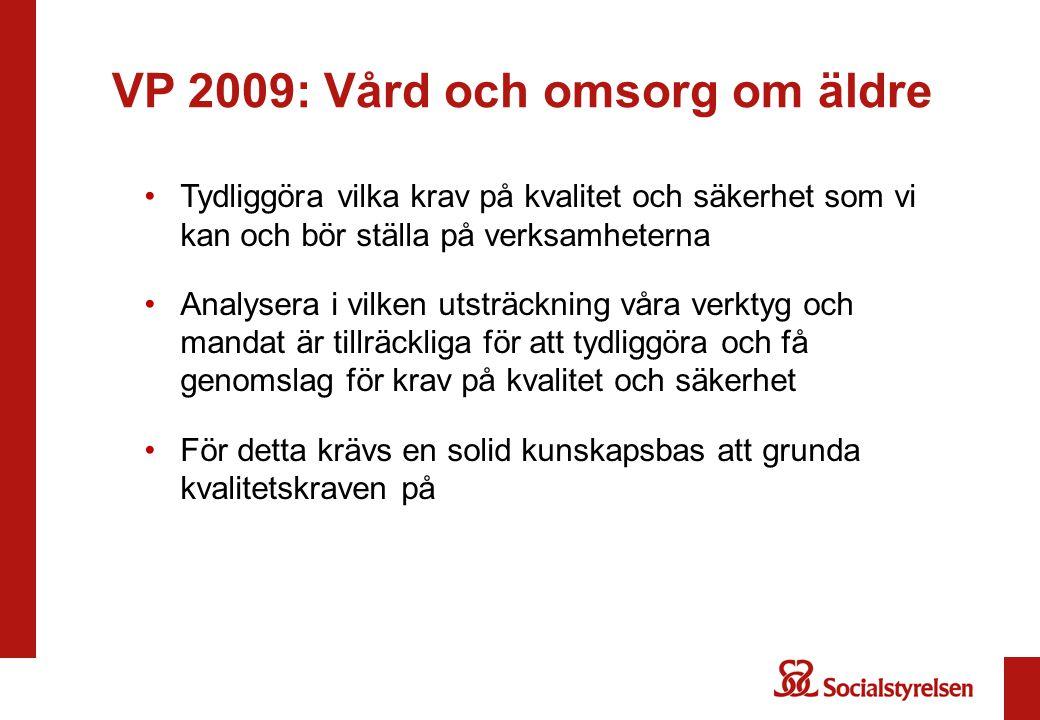 VP 2009: Vård och omsorg om äldre Tydliggöra vilka krav på kvalitet och säkerhet som vi kan och bör ställa på verksamheterna Analysera i vilken utsträ