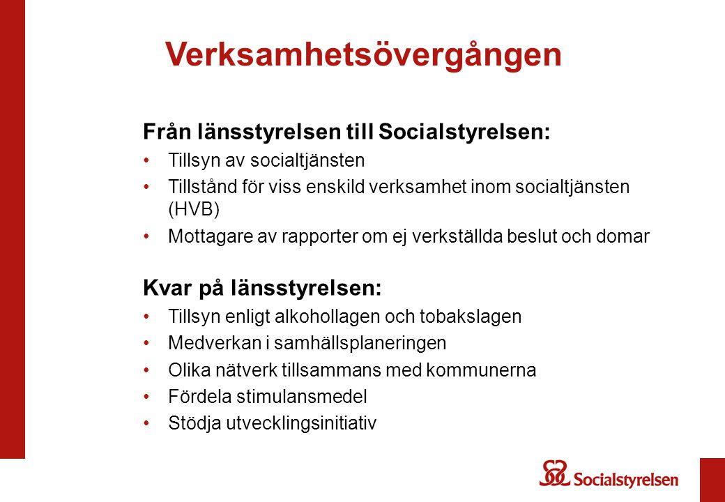 Verksamhetsövergången Från länsstyrelsen till Socialstyrelsen: Tillsyn av socialtjänsten Tillstånd för viss enskild verksamhet inom socialtjänsten (HV