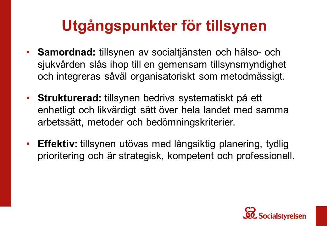 Samordnad: tillsynen av socialtjänsten och hälso- och sjukvården slås ihop till en gemensam tillsynsmyndighet och integreras såväl organisatoriskt som