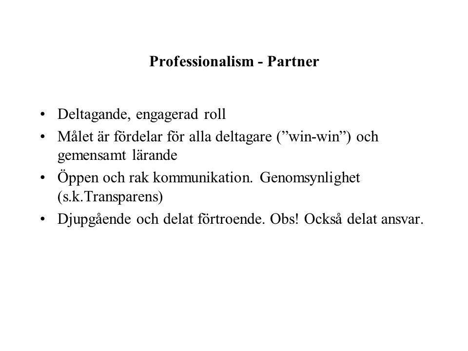 Professionalism - Partner Deltagande, engagerad roll Målet är fördelar för alla deltagare ( win-win ) och gemensamt lärande Öppen och rak kommunikation.
