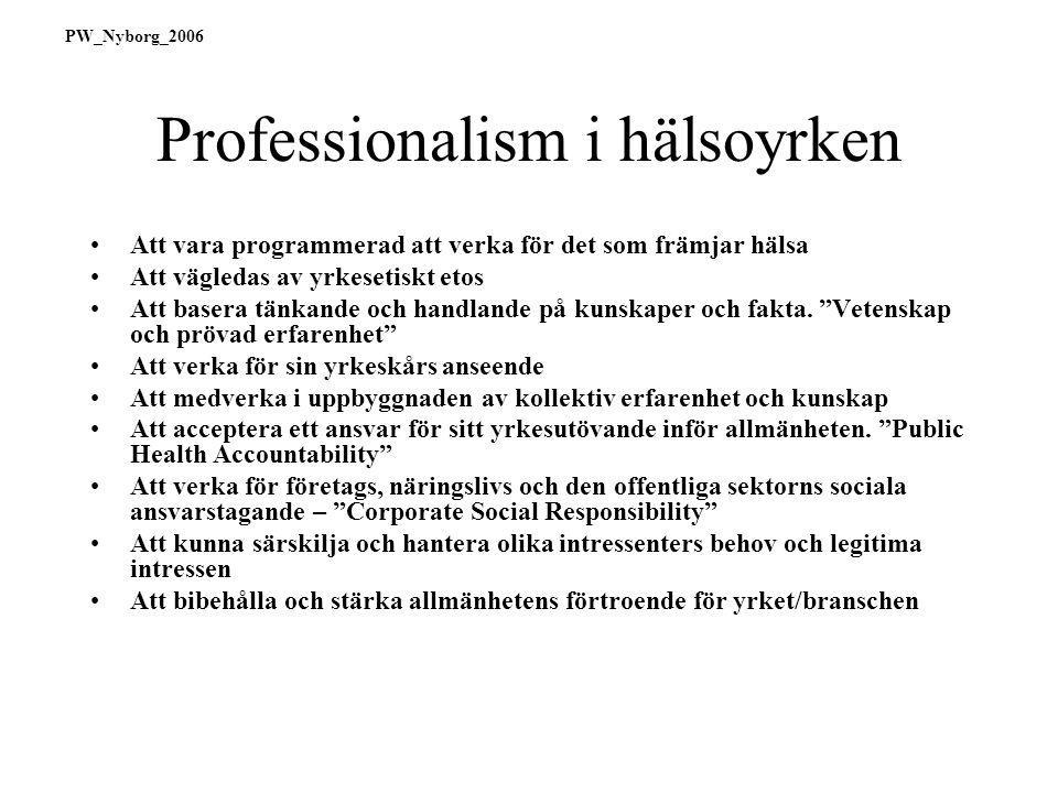 Professionalism i hälsoyrken Att vara programmerad att verka för det som främjar hälsa Att vägledas av yrkesetiskt etos Att basera tänkande och handlande på kunskaper och fakta.