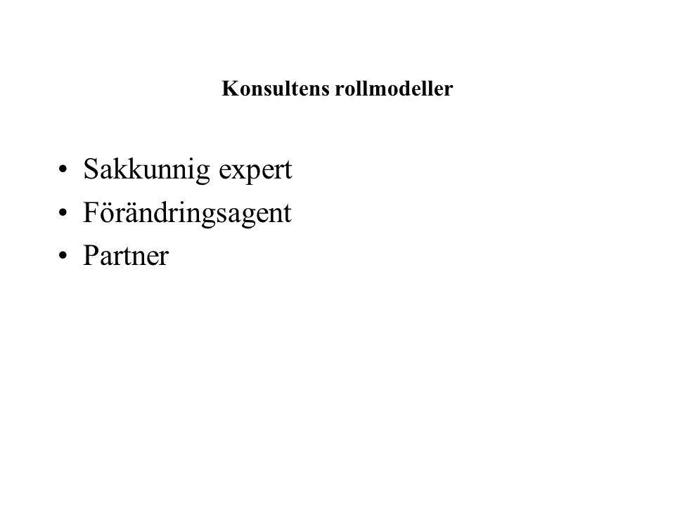 Konsultens rollmodeller Sakkunnig expert Förändringsagent Partner