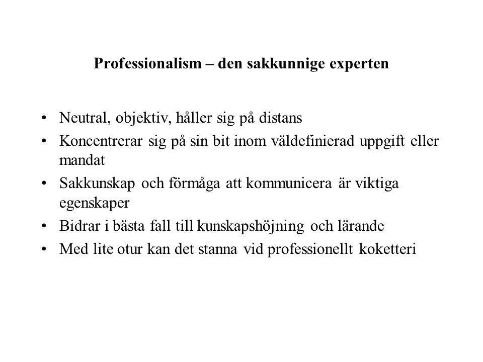 Professionalism – den sakkunnige experten Neutral, objektiv, håller sig på distans Koncentrerar sig på sin bit inom väldefinierad uppgift eller mandat Sakkunskap och förmåga att kommunicera är viktiga egenskaper Bidrar i bästa fall till kunskapshöjning och lärande Med lite otur kan det stanna vid professionellt koketteri