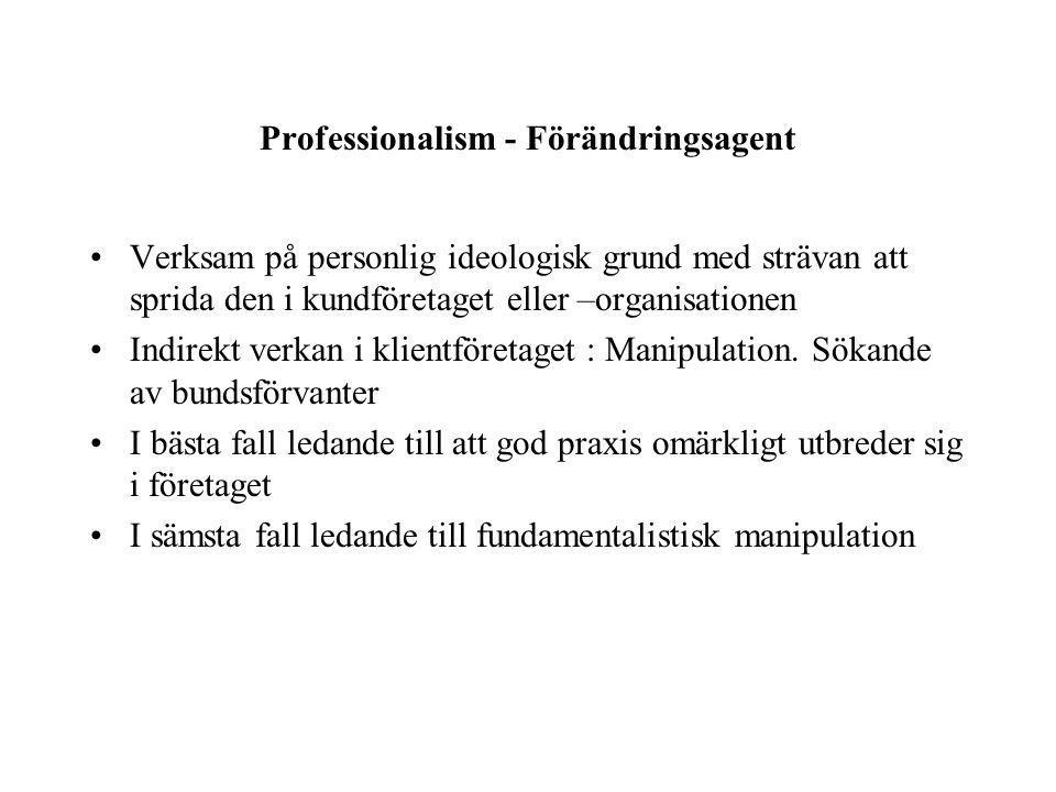 Professionalism - Förändringsagent Verksam på personlig ideologisk grund med strävan att sprida den i kundföretaget eller –organisationen Indirekt verkan i klientföretaget : Manipulation.