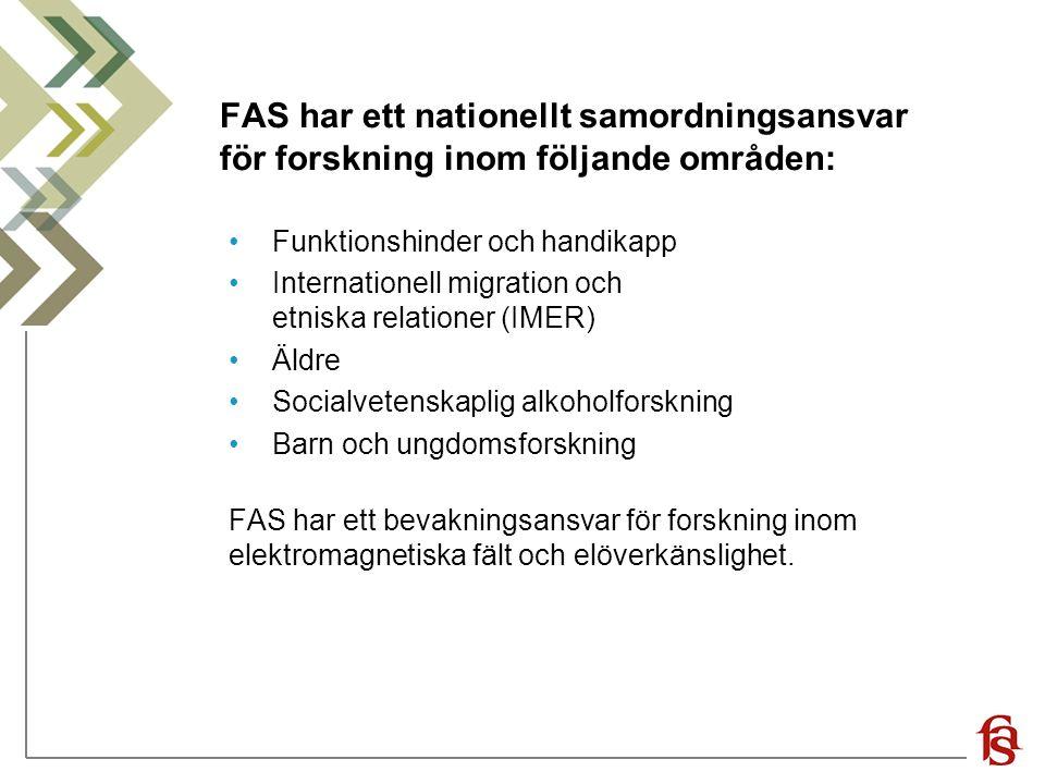 FAS har ett nationellt samordningsansvar för forskning inom följande områden: Funktionshinder och handikapp Internationell migration och etniska relationer (IMER) Äldre Socialvetenskaplig alkoholforskning Barn och ungdomsforskning FAS har ett bevakningsansvar för forskning inom elektromagnetiska fält och elöverkänslighet.