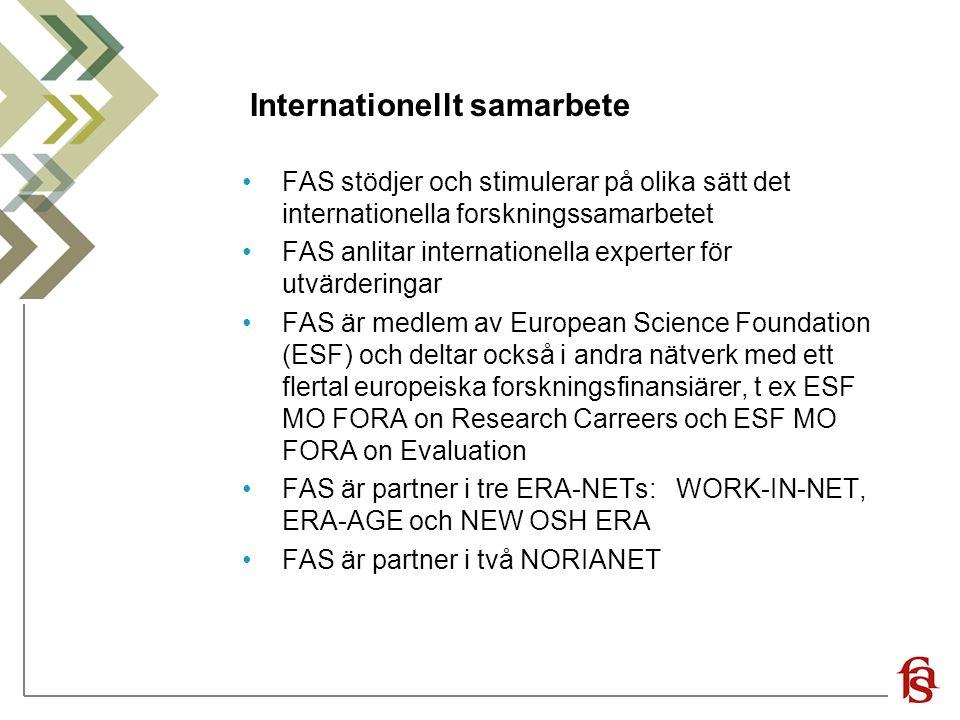 Internationellt samarbete FAS stödjer och stimulerar på olika sätt det internationella forskningssamarbetet FAS anlitar internationella experter för utvärderingar FAS är medlem av European Science Foundation (ESF) och deltar också i andra nätverk med ett flertal europeiska forskningsfinansiärer, t ex ESF MO FORA on Research Carreers och ESF MO FORA on Evaluation FAS är partner i tre ERA-NETs: WORK-IN-NET, ERA-AGE och NEW OSH ERA FAS är partner i två NORIANET
