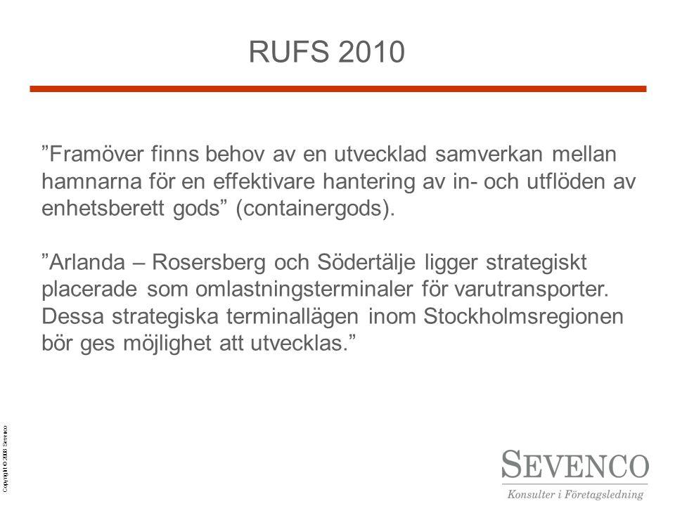 Copyright © 2008 Sevenco RUFS 2010 Framöver finns behov av en utvecklad samverkan mellan hamnarna för en effektivare hantering av in- och utflöden av enhetsberett gods (containergods).