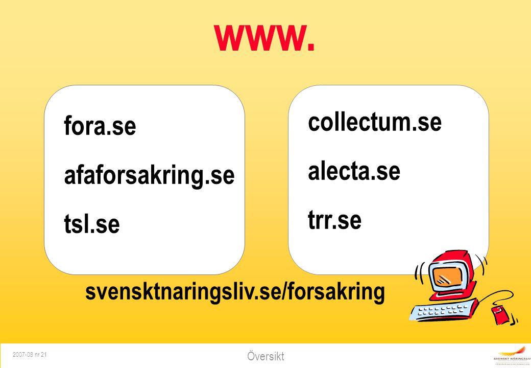 Översikt 2007-08 nr 21 www. fora.se afaforsakring.se tsl.se collectum.se alecta.se trr.se svensktnaringsliv.se/forsakring