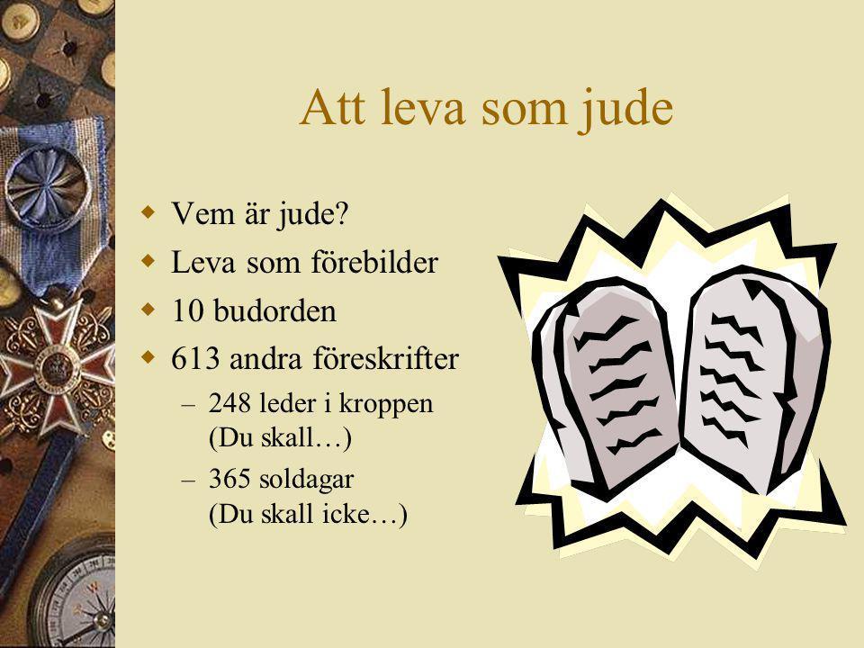 Att leva som jude  Vem är jude?  Leva som förebilder  10 budorden  613 andra föreskrifter – 248 leder i kroppen (Du skall…) – 365 soldagar (Du ska