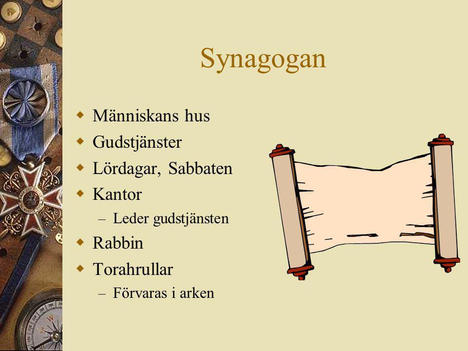 Synagogan  Människans hus  Gudstjänster  Lördagar, Sabbaten  Kantor – Leder gudstjänsten  Rabbin  Torahrullar – Förvaras i arken