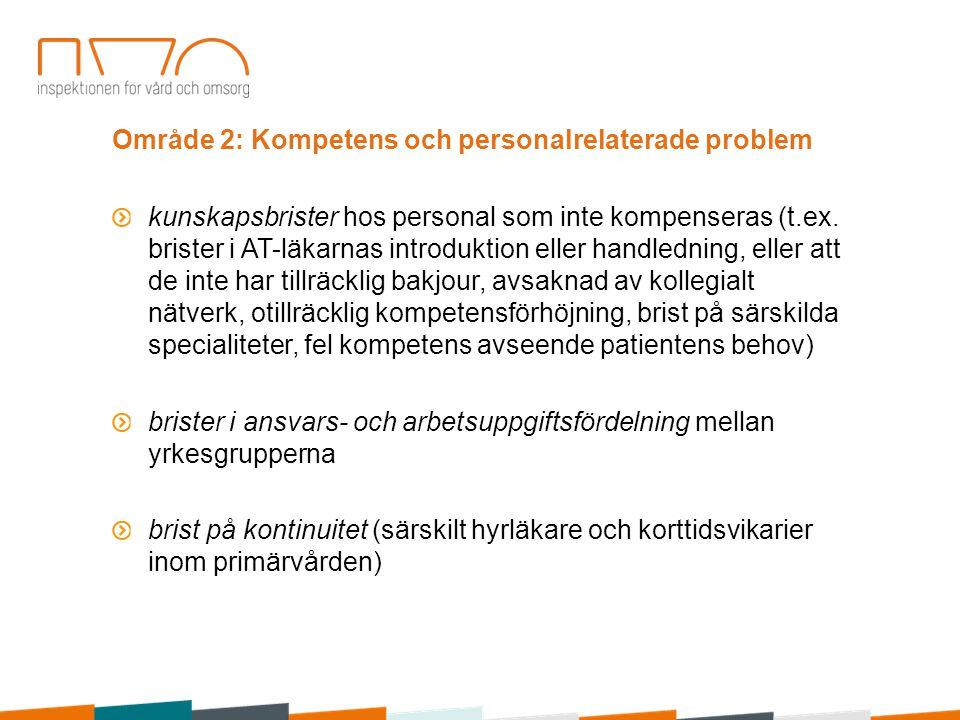 Område 2: Kompetens och personalrelaterade problem kunskapsbrister hos personal som inte kompenseras (t.ex. brister i AT-läkarnas introduktion eller h