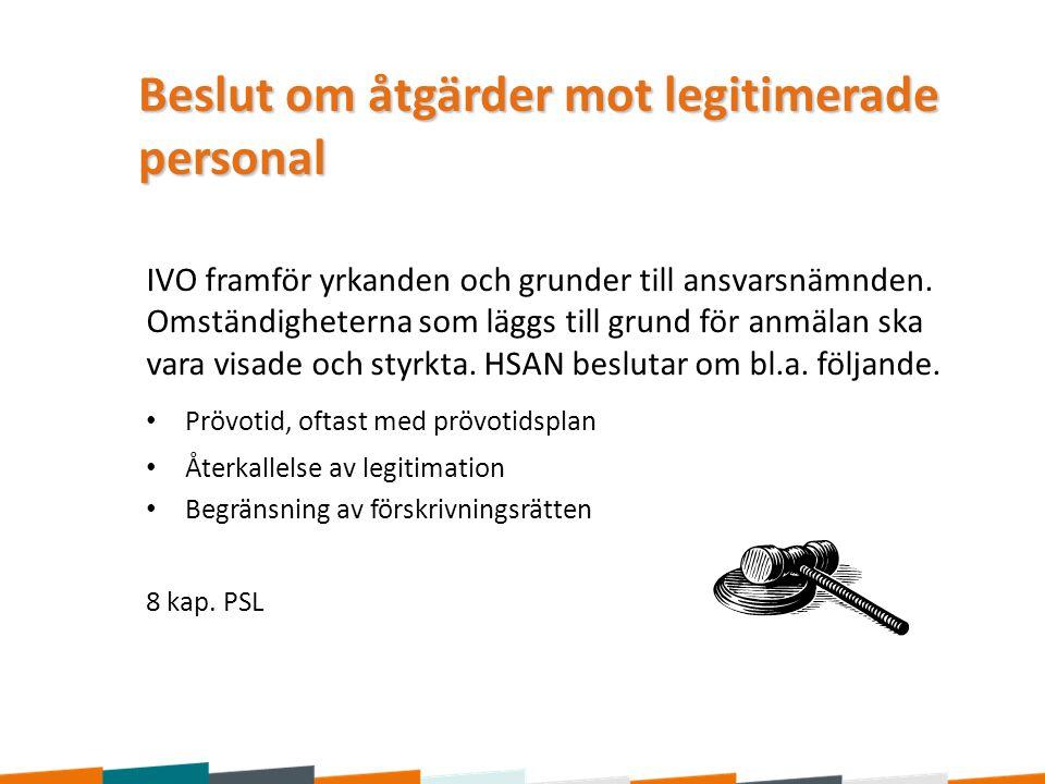 Beslut om åtgärder mot legitimerade personal IVO framför yrkanden och grunder till ansvarsnämnden. Omständigheterna som läggs till grund för anmälan s