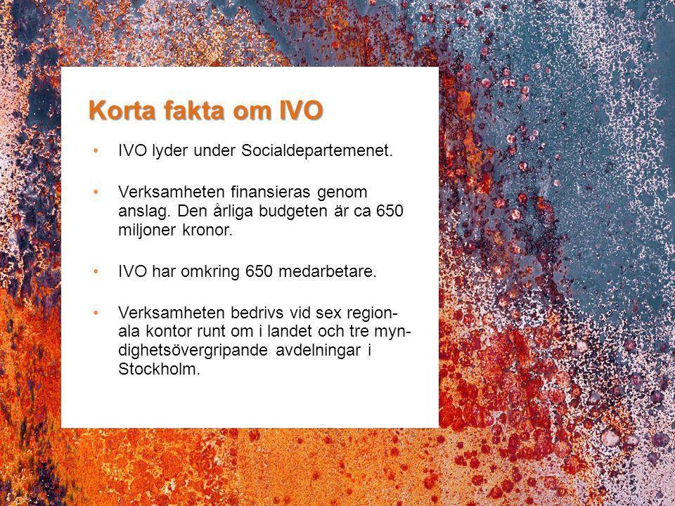 Korta fakta om IVO IVO lyder under Socialdepartemenet. Verksamheten finansieras genom anslag. Den årliga budgeten är ca 650 miljoner kronor. IVO har o