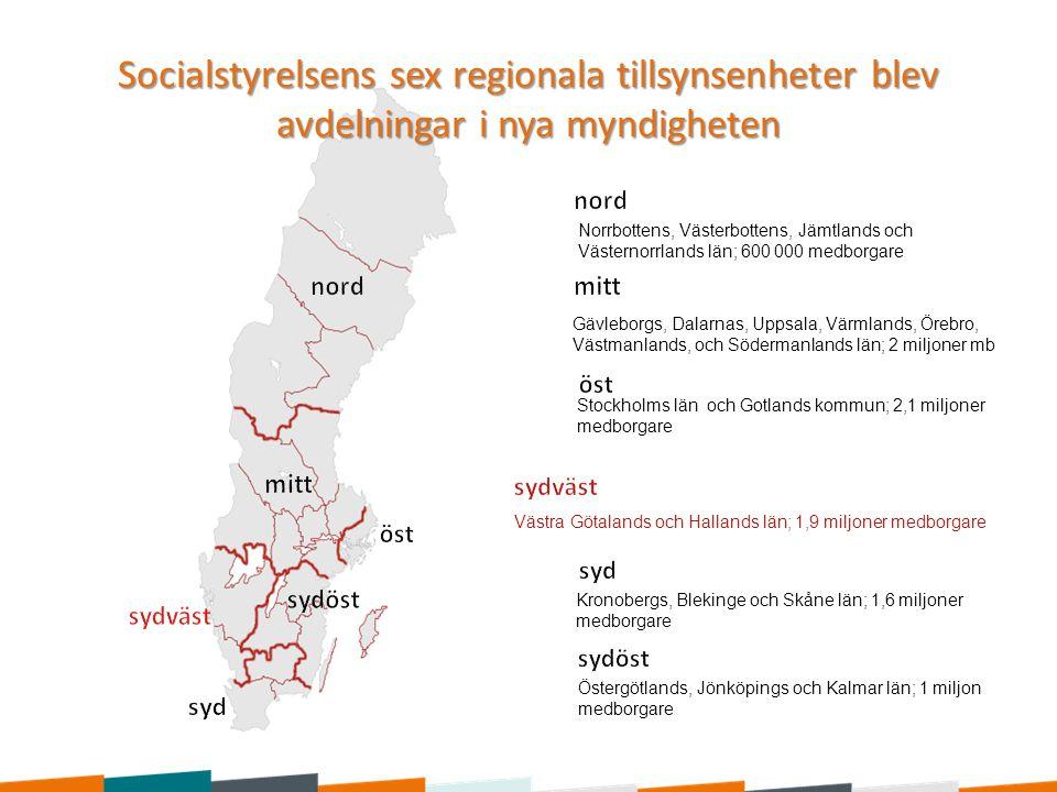 Socialstyrelsens sex regionala tillsynsenheter blev avdelningar i nya myndigheten Norrbottens, Västerbottens, Jämtlands och Västernorrlands län; 600 0