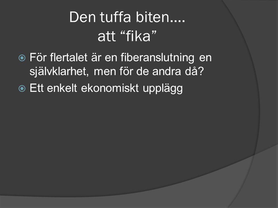 """Den tuffa biten…. att """"fika""""  För flertalet är en fiberanslutning en självklarhet, men för de andra då?  Ett enkelt ekonomiskt upplägg"""