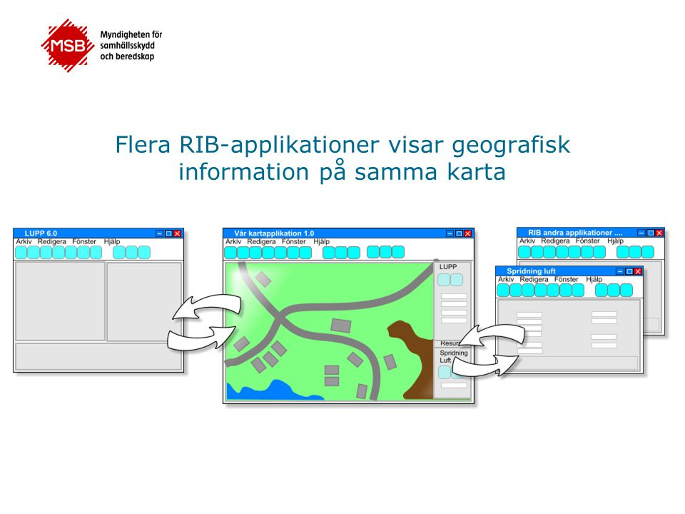 Samlad bild på en och samma karta Spridningsplym: från Spridning Luft kan du visa resultatet av en spridningsberäkning i form av en spridningsplym Insatser och enheter: från LUPP kan du exempelvis visa insatser och enheter