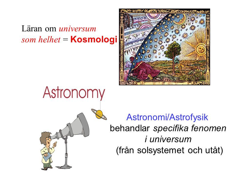 Läran om universum som helhet = Kosmologi Astronomi/Astrofysik behandlar specifika fenomen i universum (från solsystemet och utåt)