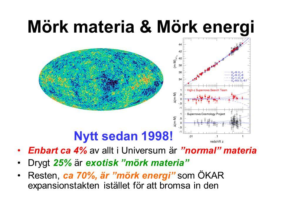 """Mörk materia & Mörk energi Nytt sedan 1998! Enbart ca 4% av allt i Universum är """"normal"""" materia Drygt 25% är exotisk """"mörk materia"""" Resten, ca 70%, ä"""