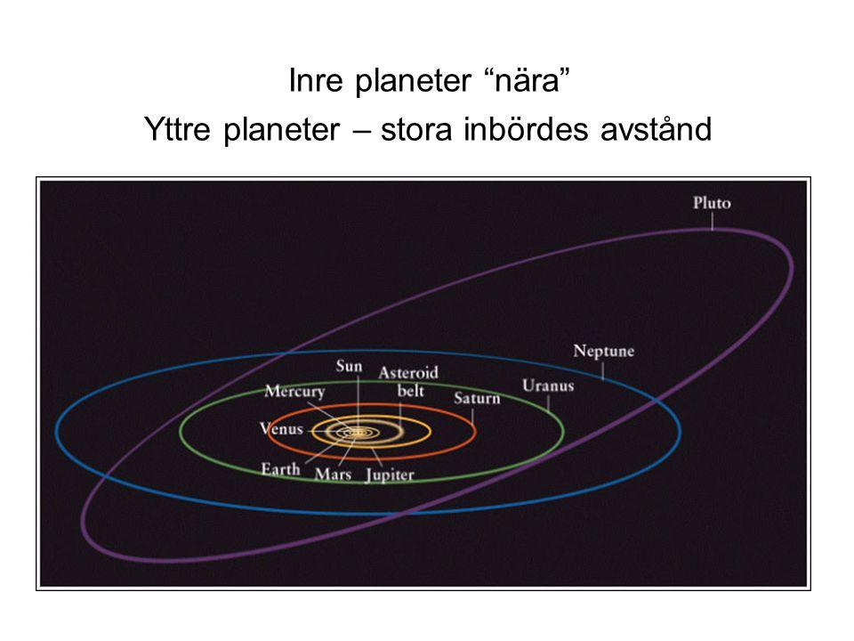"""Inre planeter """"nära"""" Yttre planeter – stora inbördes avstånd"""