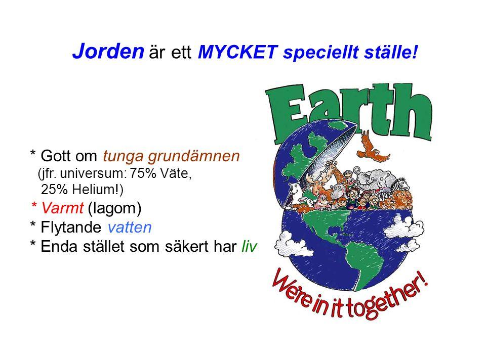 Jorden är ett MYCKET speciellt ställe! * Gott om tunga grundämnen (jfr. universum: 75% Väte, 25% Helium!) * Varmt (lagom) * Flytande vatten * Enda stä