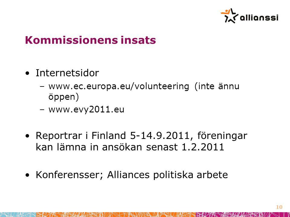 Kommissionens insats Internetsidor –www.ec.europa.eu/volunteering (inte ännu öppen) –www.evy2011.eu Reportrar i Finland 5-14.9.2011, föreningar kan lämna in ansökan senast 1.2.2011 Konferensser; Alliances politiska arbete 10