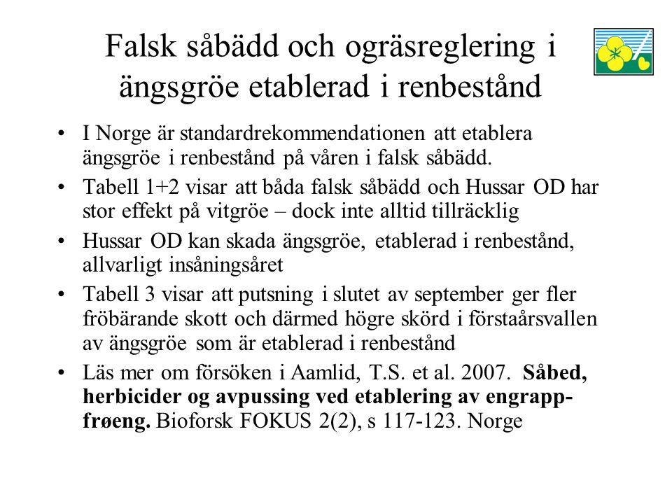 Falsk såbädd och ogräsreglering i ängsgröe etablerad i renbestånd I Norge är standardrekommendationen att etablera ängsgröe i renbestånd på våren i falsk såbädd.