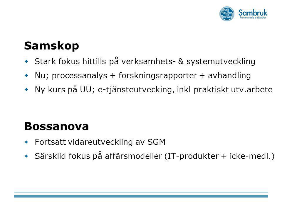 Samskop  Stark fokus hittills på verksamhets- & systemutveckling  Nu; processanalys + forskningsrapporter + avhandling  Ny kurs på UU; e-tjänsteutv