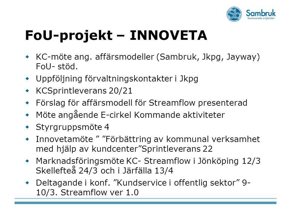 FoU-projekt – INNOVETA  KC-möte ang. affärsmodeller (Sambruk, Jkpg, Jayway) FoU- stöd.  Uppföljning förvaltningskontakter i Jkpg  KCSprintleverans