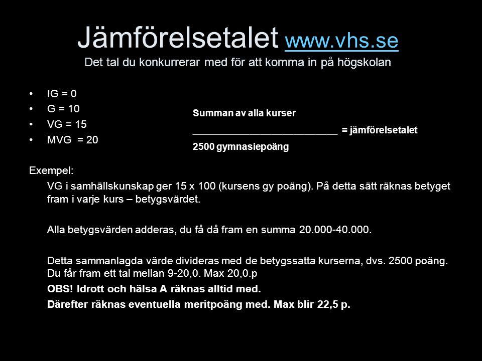 Jämförelsetalet www.vhs.se Det tal du konkurrerar med för att komma in på högskolan www.vhs.se IG = 0 G = 10 VG = 15 MVG = 20 Exempel: VG i samhällskunskap ger 15 x 100 (kursens gy poäng).