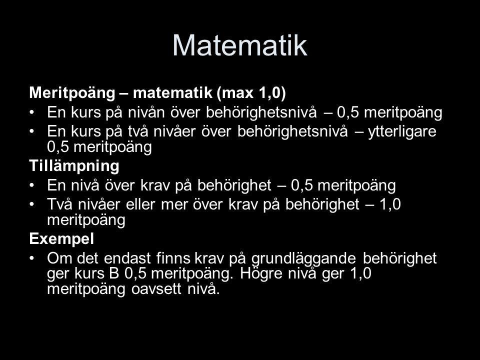 Matematik Meritpoäng – matematik (max 1,0) En kurs på nivån över behörighetsnivå – 0,5 meritpoäng En kurs på två nivåer över behörighetsnivå – ytterli