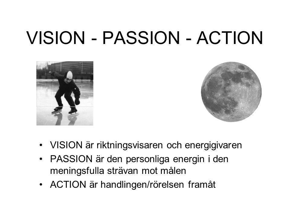 VISION - PASSION - ACTION VISION är riktningsvisaren och energigivaren PASSION är den personliga energin i den meningsfulla strävan mot målen ACTION ä