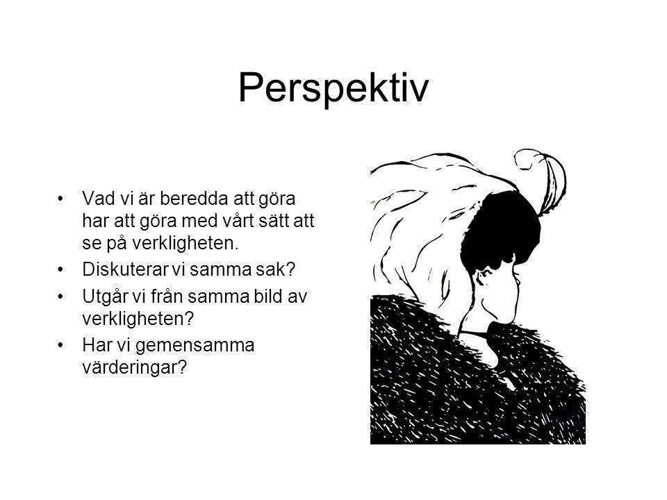 Perspektiv Vad vi är beredda att göra har att göra med vårt sätt att se på verkligheten. Diskuterar vi samma sak? Utgår vi från samma bild av verkligh