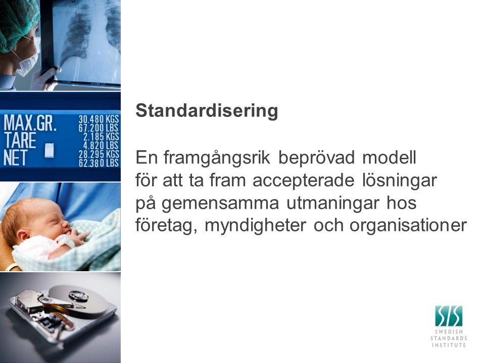 El Standardiseringen – lokalt och globalt Globalt ISO Europeiskt CEN Svenskt SIS Telecom ITS SEK ITU ETSI CENELEC IEC