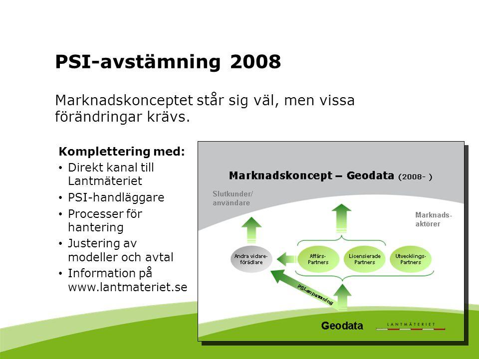 PSI-avstämning 2008 Marknadskonceptet står sig väl, men vissa förändringar krävs. Komplettering med: Direkt kanal till Lantmäteriet PSI-handläggare Pr