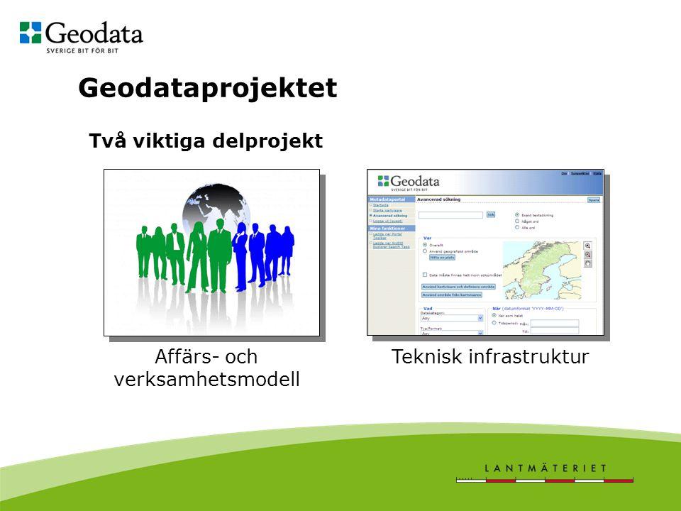 Geodataprojektet Teknisk infrastrukturAffärs- och verksamhetsmodell Två viktiga delprojekt