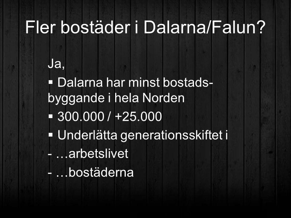 Fler bostäder i Dalarna/Falun? Ja,  Dalarna har minst bostads- byggande i hela Norden  300.000 / +25.000  Underlätta generationsskiftet i - …arbets