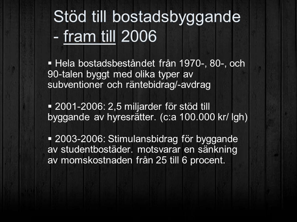 Stöd till bostadsbyggande - fram till 2006  Hela bostadsbeståndet från 1970-, 80-, och 90-talen byggt med olika typer av subventioner och räntebidrag