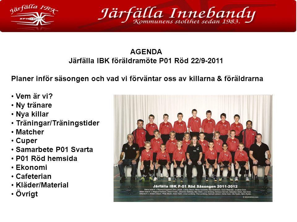 AGENDA Järfälla IBK föräldramöte P01 Röd 22/9-2011 Planer inför säsongen och vad vi förväntar oss av killarna & föräldrarna Vem är vi.