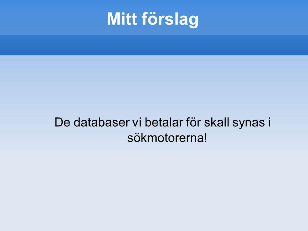 Mitt förslag De databaser vi betalar för skall synas i sökmotorerna!