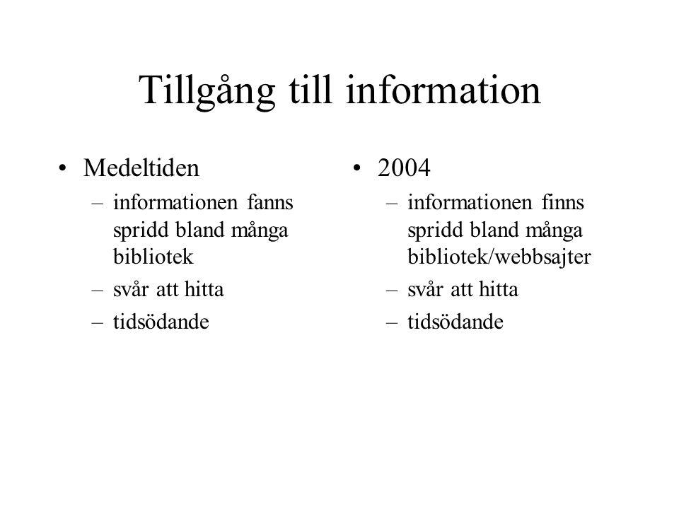 Tillgång till information Medeltiden –informationen fanns spridd bland många bibliotek –svår att hitta –tidsödande 2004 –informationen finns spridd bland många bibliotek/webbsajter –svår att hitta –tidsödande