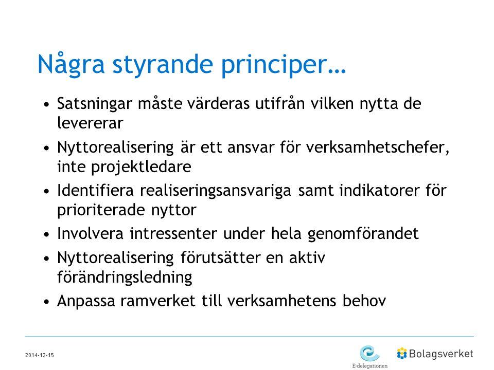 2014-12-15 Några styrande principer… Satsningar måste värderas utifrån vilken nytta de levererar Nyttorealisering är ett ansvar för verksamhetschefer,